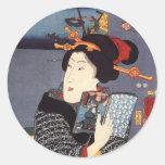 Utagawa Kuniyoshi Woman (12) Round Stickers