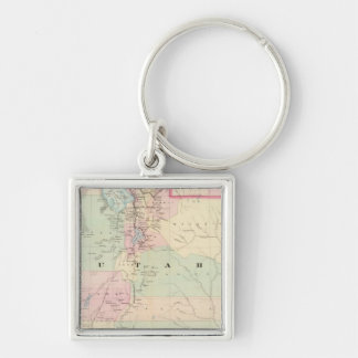Utah 3 Silver-Colored square keychain