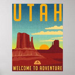 Utah Adventure - Vintage Design Poster