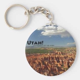 Utah Basic Round Button Keychain