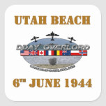 Utah Beach 6th June 1944 Calcomania Cuadrada Personalizada