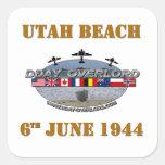Utah Beach 6th June 1944 Pegatina Cuadrada