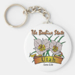 Utah Beehive State Sego Lily Key Chains