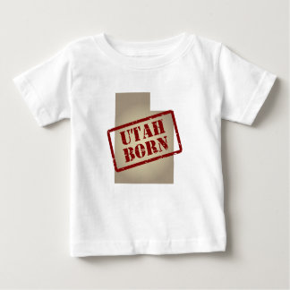 Utah Born - Stamp on Map Baby T-Shirt