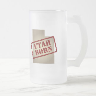 Utah Born - Stamp on Map Frosted Glass Beer Mug