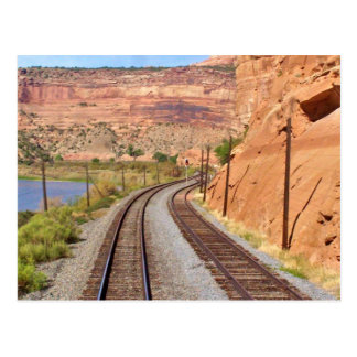 Utah Canyons Train Tracks Postcard