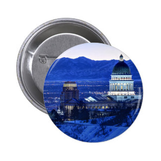 Utah Capitol And Oquirrh Mountains Winter Sunset Button