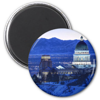 Utah Capitol And Oquirrh Mountains Winter Sunset Magnet