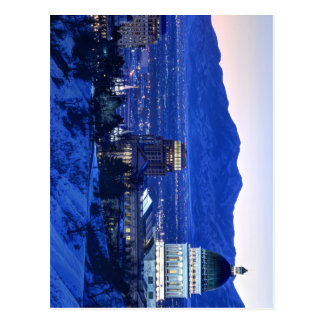 Utah Capitol And Oquirrh Mountains Winter Sunset Postcard