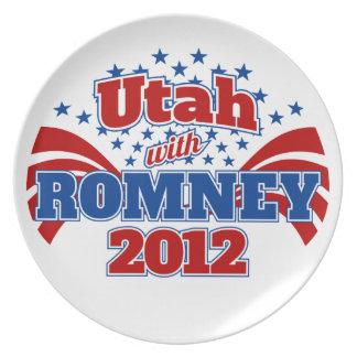 Utah con Romney 2012 Platos De Comidas