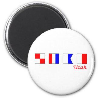Utah deletreó en alfabeto náutico de la bandera imán redondo 5 cm