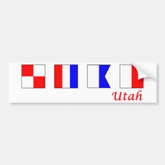 Utah deletreó en alfabeto náutico de la bandera pegatina para auto