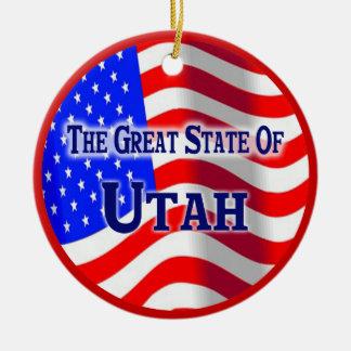 Utah Double-Sided Ceramic Round Christmas Ornament