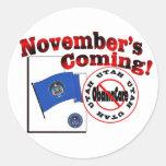 ¡Utah el venir anti de ObamaCare - de noviembre! Pegatina Redonda