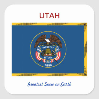 Utah Flag and Slogan Square Sticker