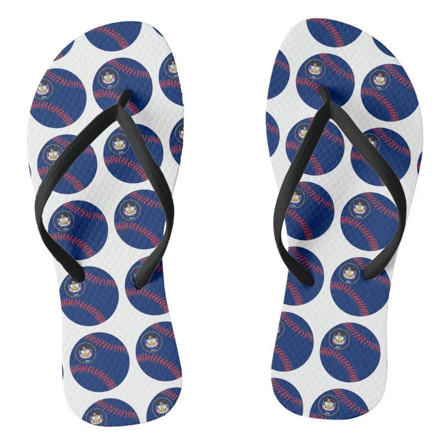 acdce68cefaf1 Utah Flag Baseball Flip Flops - Personalized Durable Thong Style Hawaiian  Beach Sandals