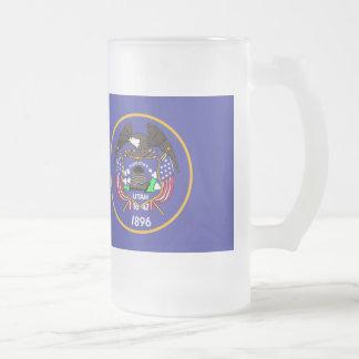 Utah Flag Frosted Glass Beer Mug