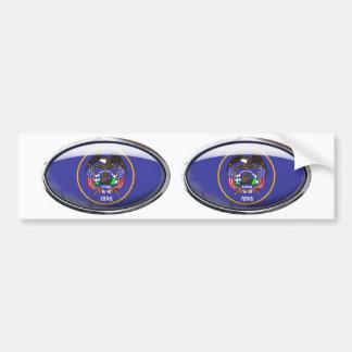Utah Flag Glass Oval Bumper Sticker
