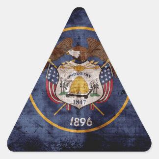Utah Flag Rustic Design Triangle Sticker