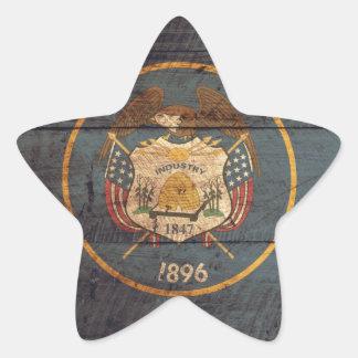 Utah Flag weathered look Star Sticker