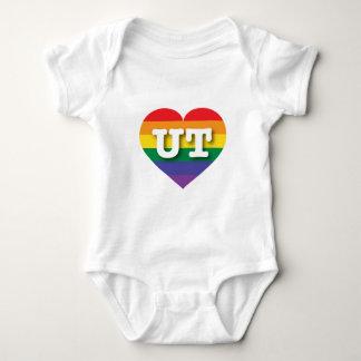 Utah Gay Pride Rainbow Heart - Big Love Baby Bodysuit
