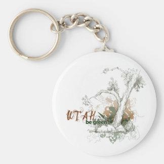 Utah Green Tree Keychain