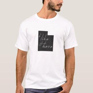 Utah I Like It Here State Silhouette Black T-Shirt