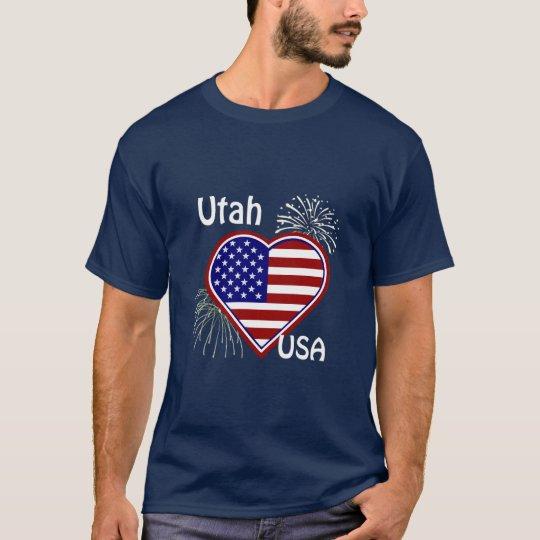 Utah July 4th Fireworks Heart Flag Navy T-shirt
