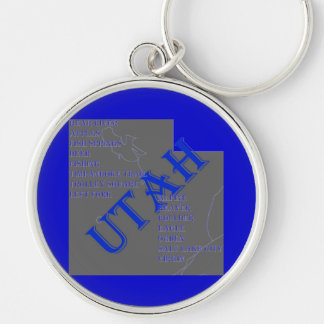 UTAH Silver-Colored ROUND KEYCHAIN