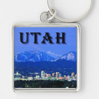 Utah Silver-Colored Square Keychain