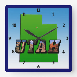 Utah Map and Picture Text Clock