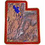 "Utah Map Christmas Ornament Cut Out<br><div class=""desc"">This acrylic ornament shaped from a relief map of Utah surrounded by festive trim will add novel Utah flair to your seasonal decorations. Also available as a pin,  magnet or keychain. 