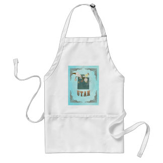 Utah Map With Lovely Birds Adult Apron