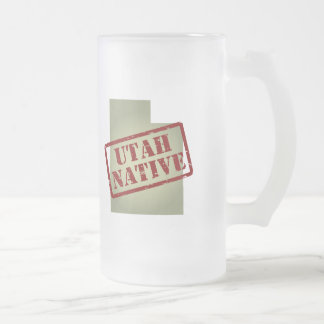 Utah Native Stamped on Map Frosted Glass Beer Mug