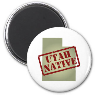 Utah Native Stamped on Map Magnet