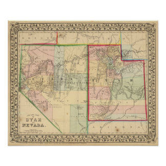 Utah, Nevada Map by Mitchell Poster