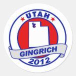Utah Newt Gingrich Pegatinas Redondas