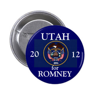 Utah para Romney 2012 Pin Redondo De 2 Pulgadas