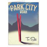 Utah park city ski travel poster card