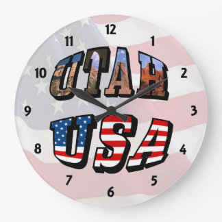 Utah Picture and USA Text Clock
