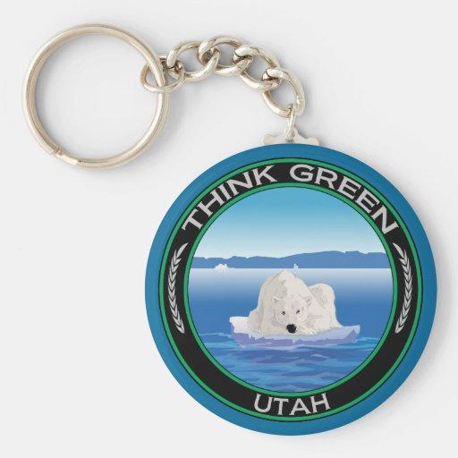 Utah polar verde llavero redondo tipo pin