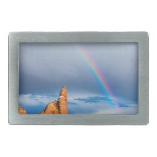 Utah Rainbow Rectangular Belt Buckle
