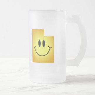 Utah Smiley Face Frosted Glass Beer Mug