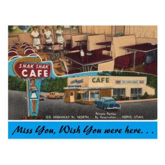 Utah, Snak Shak Cafe, Nephi Postcard