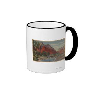 Utah - soporte majestuoso y el aterrizaje del ánge taza a dos colores