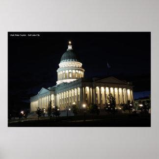 Utah State Capitol at Night - Salt Lake City Posters