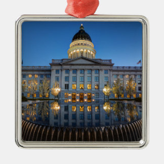 Utah State Capitol In Reflecting Fountain At Dusk Metal Ornament