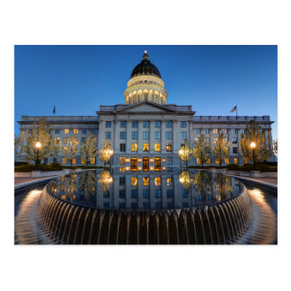 Utah State Capitol In Reflecting Fountain At Dusk Postcard