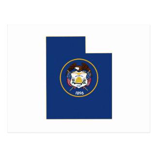Utah State Flag and Map Postcard