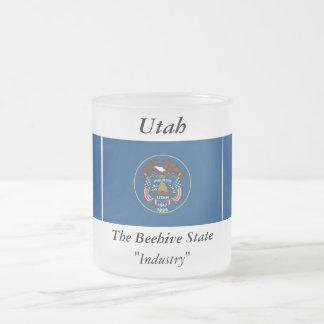 Utah State Flag Frosted Glass Coffee Mug